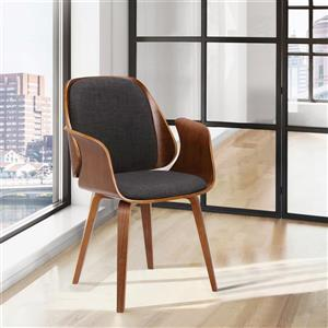 "Armen Living Tiffany Dining Chair - 33"" x 24"" - Polyester - Black"