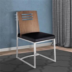 """Armen Living Oxford Dining Chairs - 33"""" - Faux Leather - Black - Set of 2"""