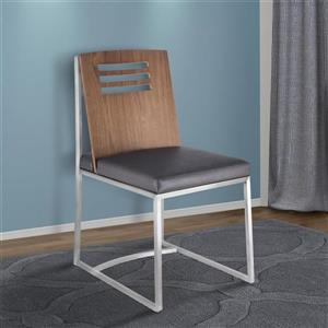 """Armen Living Oxford Dining Chairs - 33"""" - Faux Leather - Gray - Set of 2"""