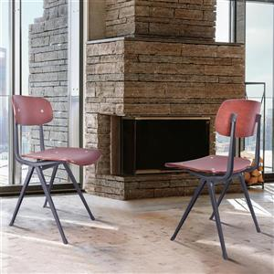 "Armen Living Levi Dining Chairs - 31.5"" x 17.5"" - Wood - Black - Set of 2"