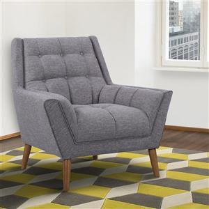 """Armen Living Cobra Accent Chair - 40"""" - Linen - Dark Gray"""