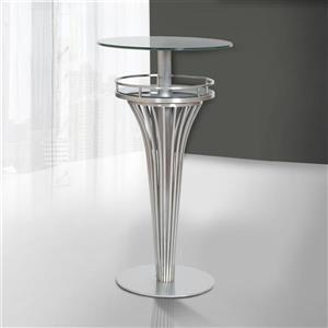 "Armen Living Yukon Dining Table - 23"" x 23"" - Glass - Gray"