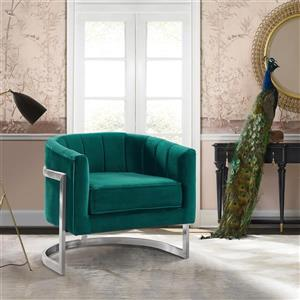 "Armen Living Kamila Accent Chair - 27"" - Polyester - Green"