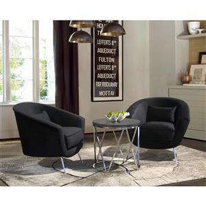 """Armen Living Tulare Accent Chair - 35.5"""" - Polyester - Black"""