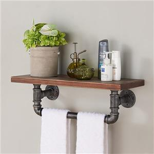 "Armen Living Jarrett Wall Shelf - 24"" x 9"" - Wood - Walnut"