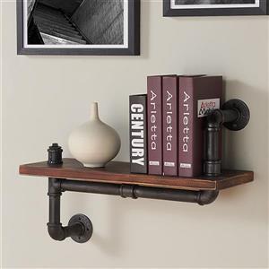 "Armen Living Montana Wall Shelf - 24"" x 16"" - Wood - Walnut"