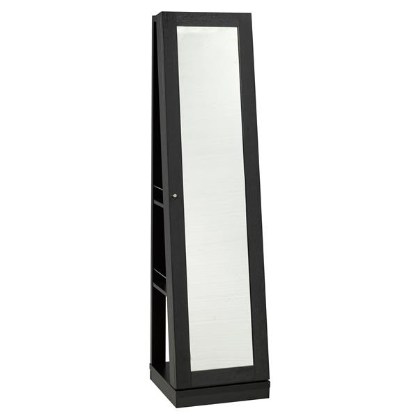 "Jewelry Cabinet with Mirror - 15.5"" x 63.5"" - Wood - Black"