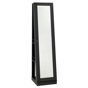 """Armoire à bijoux avec miroir, 15,5"""" x 63,5"""", bois, noir"""