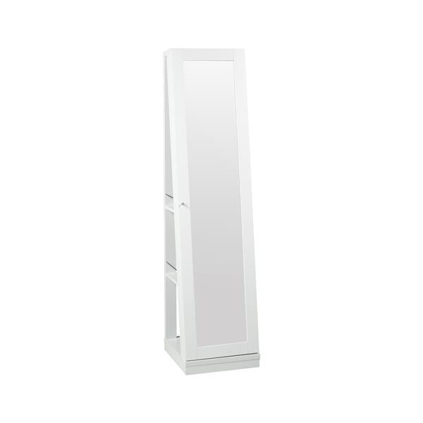 """Armoire à bijoux avec miroir, 15,5"""" x 63,5"""", bois, blanc"""