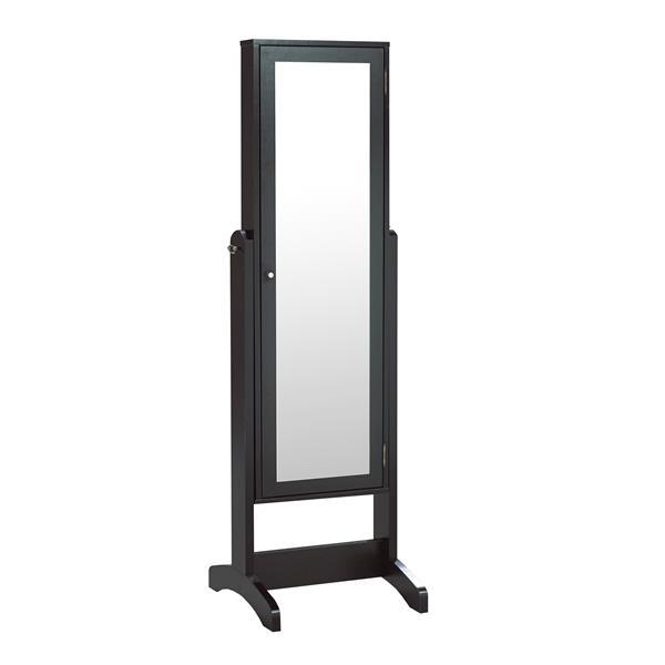 "Jewelry Cabinet with Mirror - 22.5"" x 60"" -  Black"