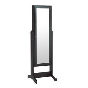 """Armoire à bijoux avec miroir, 22,5"""" x 60"""", noir"""