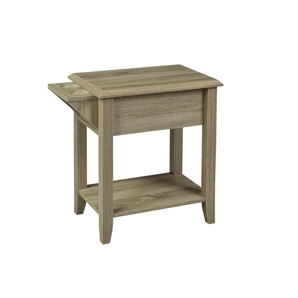 """Brassex Telephone Stand with Drawer - 24"""" - Wood - Dark Taupe"""