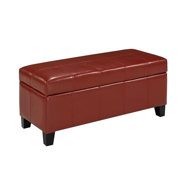 "Storage Ottoman - 33.8"" x 16.1"" - Faux Leather - Red"