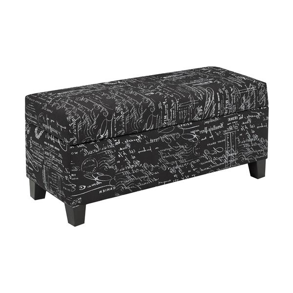 "Storage Ottoman - 33.8"" x 16.1"" - Fabric - Black"