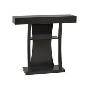 """Table console avec rangement, 12"""" x 34"""", bois, cerise foncée"""