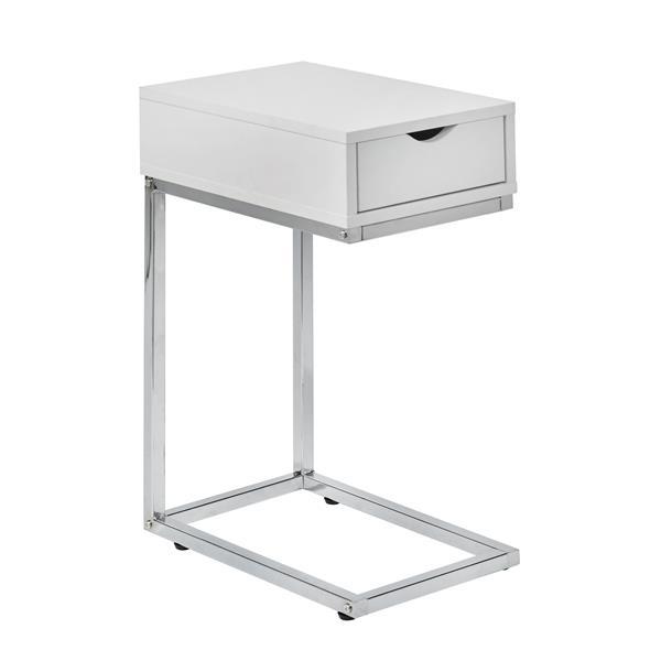 """Table décorative avec rangement, 24"""", MDF, blanc"""