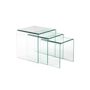 Tables gignognes, verre courbé, clair, ens. de 3