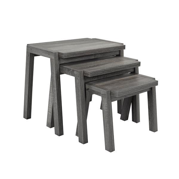 Tables gigognes, bois, gris, ens. de 3