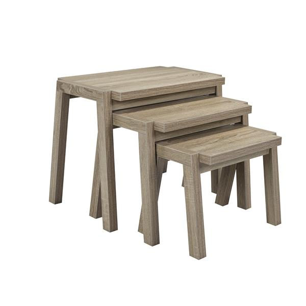 Brassex Nesting Tables - Wood - Dark Taupe - Set of 3