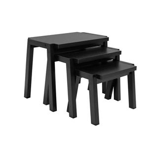 Nesting Tables - Wood - Black - Set of 3
