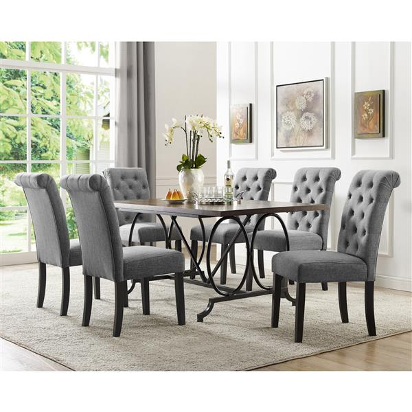 Soho Dining Set - Polyester - Gray - 7 Pieces
