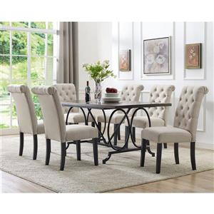 Brassex Soho Dining Set - Polyester - Beige - 7 Pieces