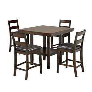 Brassex Santana Dining Set - Wood - Walnut - 5 Pieces