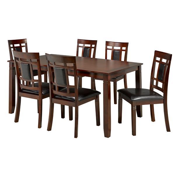 Brassex Aliya Dining Set - Wood - Walnut - 7 Pieces