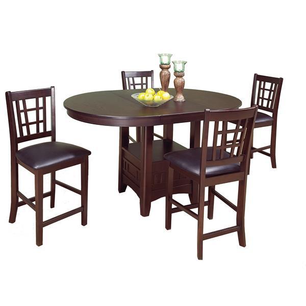 Brassex Tavern Dining Set - Wood - Espresso - 5 Pieces