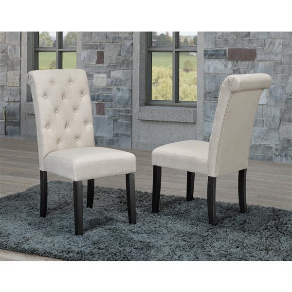 "Brassex Soho Dining Chairs - 18"" x 19"" - Fabric - Beige - Set of 2"