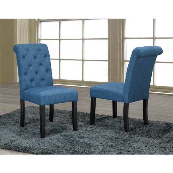 "Brassex Soho Dining Chairs - 18"" x 19"" - Fabric - Blue - Set of 2"
