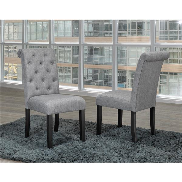 "Brassex Soho Dining Chairs - 18"" x 19"" - Fabric - Gray - Set of 2"