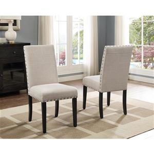 "Brassex Indira Dining Chairs - 19"" - Polyester - Beige - Set of 2"