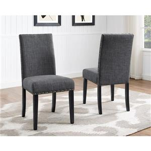 """Brassex Indira Dining Chairs - 19"""" - Polyester - Gray - Set of 2"""
