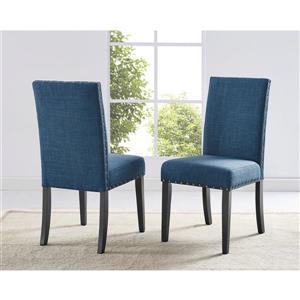 "Chaises de cuisine Indira, 19"", polyester, bleu, ens. de 2"