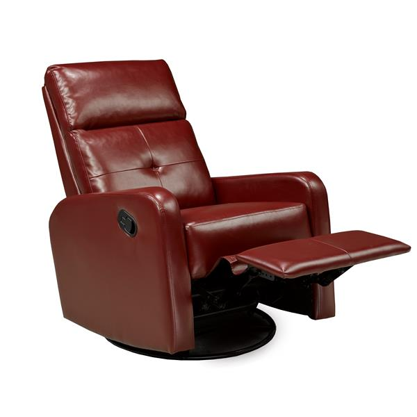 "Fauteuil inclinable Soho, 21"" x 19"", similicuir, rouge"
