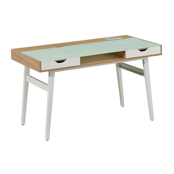 "Brassex Office Desk - 51"" x 30"" - Tempered Glass - White"