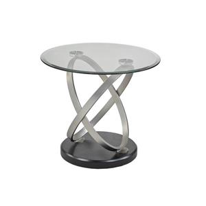 "Brassex Chantal End Table - 26"" x 24"" - Glass - Black/Silver"