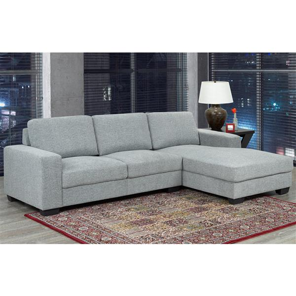 "Sofa Sectionnel Hampton, 64,25"", polyester, gris"