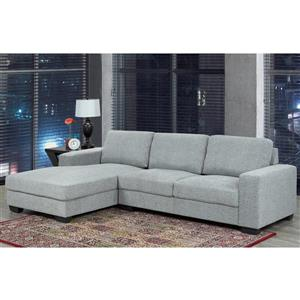 Sofa Sectionnel Hampton, polyester, gris