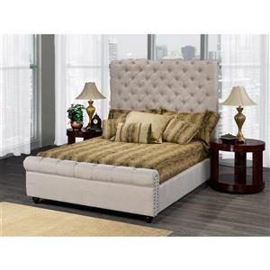 "Cadre de très grand lit Raleigh, 96,5"", lin, beige"
