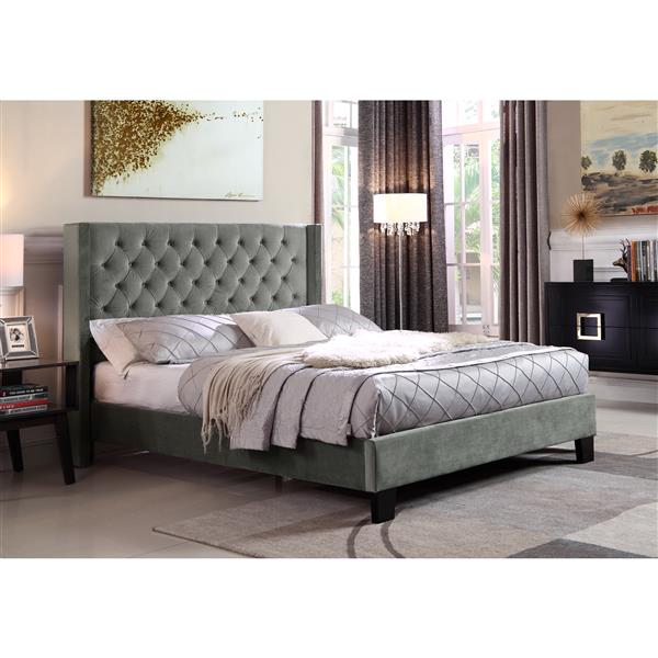 "Brassex Jia Queen Platform Bed Frame - 67.75"" - Polyester - Gray"