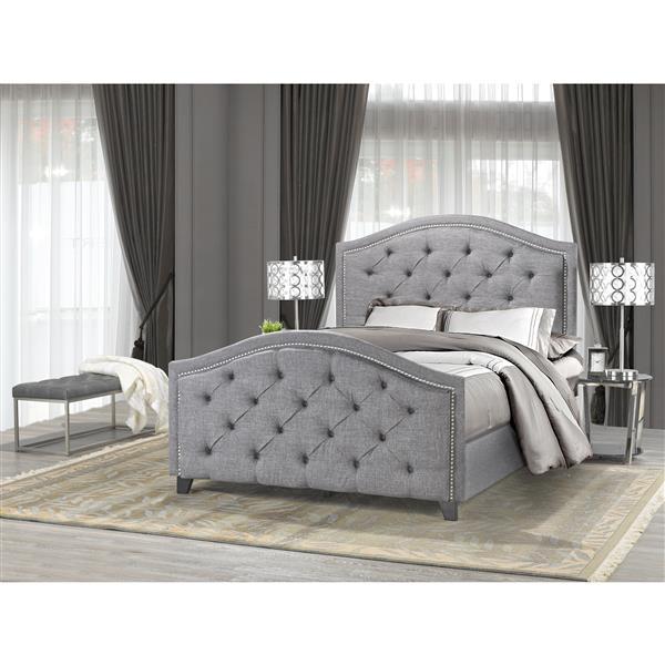 """Cadre de Très grand lit, 88"""", tissu, gris"""