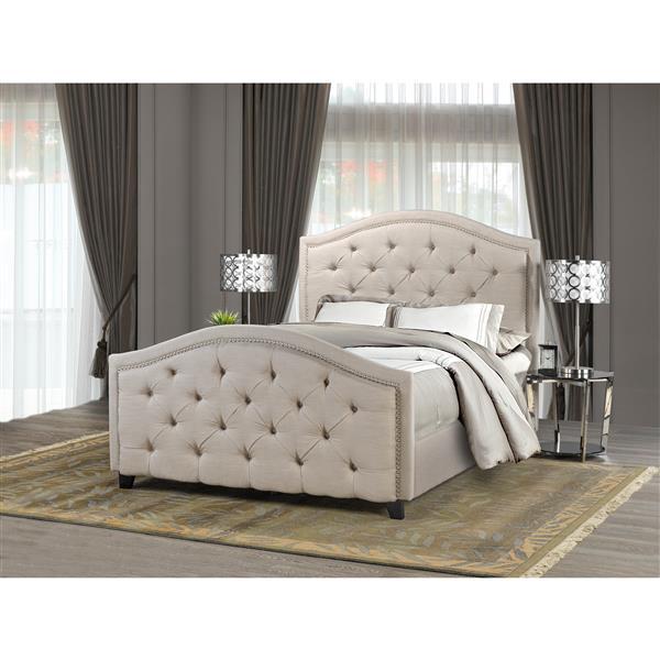 "Brassex King Bed Frame - 88"" - Fabric - Beige"