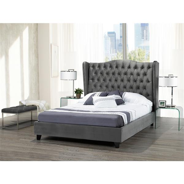 "Brassex Queen Platform Bed Frame - 90"" - Velvet - Gray"