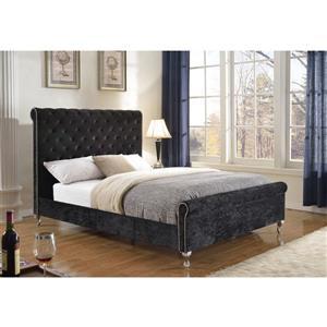 """Plateforme pour grand lit, 88,5"""", tissu, noir"""