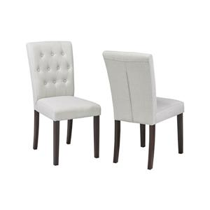 "Brassex Side Chairs - 20"" x 22"" - Fabric- Beige - Set of 2"
