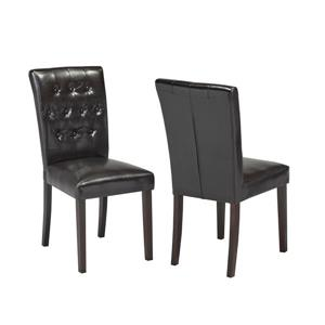 """Brassex Side Chairs - 22"""" - Faux Leather - Espresso - Set of 2"""