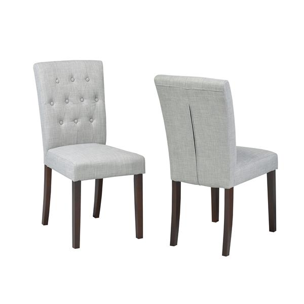 """Brassex Side Chairs - 22"""" - Fabric - Gray - Set of 2"""
