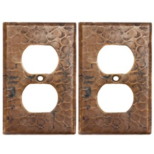 Premier Copper Products Copper Single Duplex - 2 Hole Outlet Cover - 2 PK